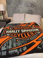 Harley Davidson Jagged Edge fleece blanket  throw NEW