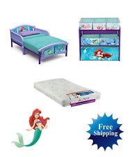 Disney Little Mermaid Toddler Bed Mattress Storage Bedroom Set Furniture Girls