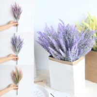 25 Heads Wedding Artificial Flowers Lavender Fake Bridal Bouquet Party Decor