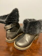 ❤️$226 Pom D'api Girl Sz 11 EU 29 Brown Gold Leather Fleece Wool Boots Designer
