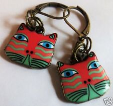 CAT FACE ORANGE & GREEN ENAMEL CHARM BRASS TONE EARRINGS FOR PIERCED EARS