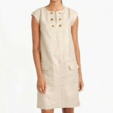 J Crew Size 8 Linen Shift Dress Beige Metallic Cap Sleeve Knee Length Grommets
