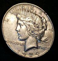 1934 S PEACE SILVER DOLLAR  EXCELLENT COIN! .90% SILVER AU - MS+++++ >>>LQQK<<<