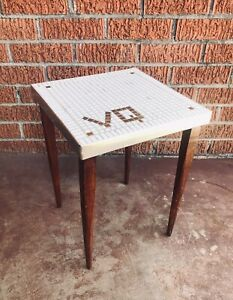 Vintage Mid Century Mosaic Tile Top End Table Tapered Walnut Legs - VQ Tile Top
