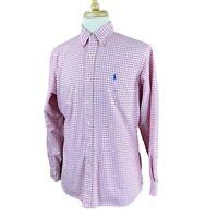 Ralph Lauren Polo Men's Classic Fit Long Sleeve Pink Check Oxford Shirt Medium