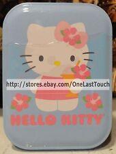 HELLO KITTY by Sanrio STORAGE TIN Blue & White ISLAND Flowers FUN & PORTABLE