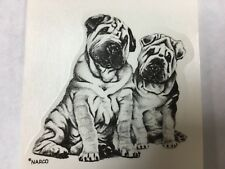 Ceramic decals two sitting Shar-Pei dogs lot of 10