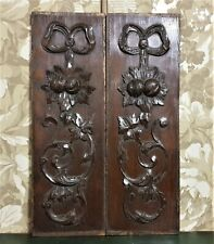 Pair bow scroll leaf wood carving panel antique french architectural salvage