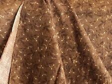 "Antique Calico Fabric 19th C 1800's Acorns Oak Leaf Sprig Browns 25"" W"