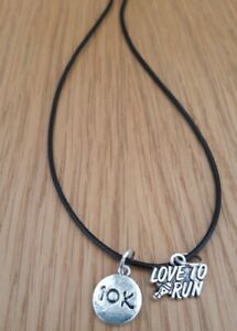 Love To Run Trainer 10K Silver Pendant Leather Cord Necklace Free Gift Tag & Bag