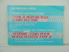 Vintage Hondaline Motorcycle Type II Audio Systems Owner's Instructions L3053
