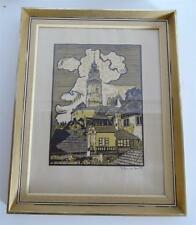 Holzschnitt Stadtansicht mit Burg Turm signiert MV datiert 1971 Provenienz HDH
