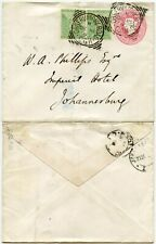 CAPE of GOOD HOPE 1897 STATIONERY UPRATED to IMPERIAL HOTEL TRANSVAAL