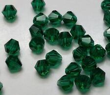 40 perles en verre à facettes toupies 4mm bleu/vert //5