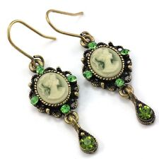 Green Teardrop Romantic Cameo Hoop Dangle Pierced Earring Antique Vintage Style