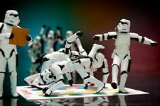 Old Photo. Toy Star Wars Stormtrooper Action Figures Playing Game Of Twister
