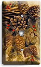 PINE CONES PHONE TELEPHONE WALL PLATE COVER WOOD CABIN RUSTIC COUNTRY ROOM DECOR