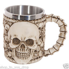 Multi Skull With Skull & Spine Emblem Decorative Tankard Gothic Gift Present Mug