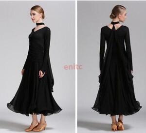 Lady Foxtrot Waltz Ballroom Modern Tango Dance Dress V-neck Long Sleeve Dress US