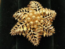 Lovely Estate 14K Gold Tiffany & Co. Leaf Frond Pin with Center Gold Berries
