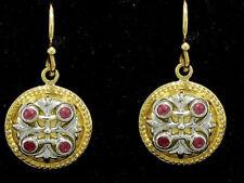E077- Genuine 9ct Solid Two-Tone Gold Natural Ruby Fleur-de-Lis Earrings Drop