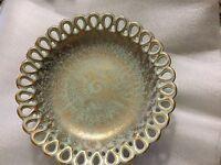 RARE Stangl Antiqued Gold Pedestal Bowl w/ Lace Edging - #5054