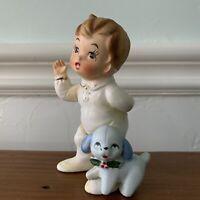 Josef Originals Boy in Pajamas PJs With Puppy Dog Porcelain Figurine Christmas