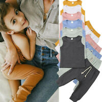 Newborn Kid Baby Girl Boy Romper Top Vest + Pants Leggings Outfit Set Clothes US