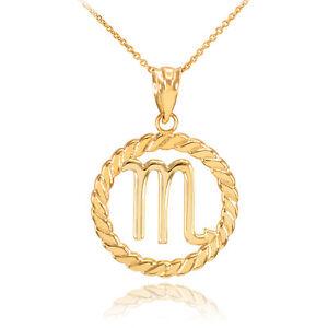 14k Gold Scorpio Zodiac Sign in Circle Rope Pendant Necklace