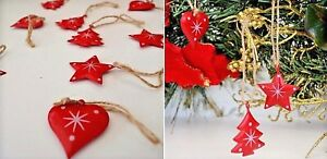 Christmas Tree Decorations. Red Metal Hearts trees & stars with White Detail