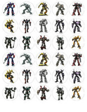 TRANSFORMERS EDIBLE WAFER CUPCAKE FAIRY CAKE TOPPERS DECORATIONS x 30