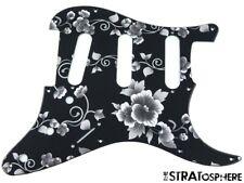 *NEW Black Rose Print Stratocaster PICKGUARD for Fender Strat Standard 11 Hole