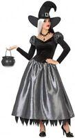 Déguisement Femme SORCIERE Noir Argent XS/S 36/38 Adulte Halloween NEUF