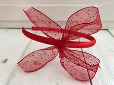 Red Satin Girls Hairband Headband Alice Band Glitter Sparkle Red Bow