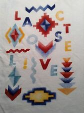 Lacoste Live Women's Geometric White Shirt Size Large Made in Peru