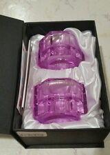 """Orrefors Crystal 'Totem Tranquility'Glass Set of 2 VIOLET Candlesticks, 3.5"""" X2"""""""