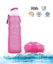 Travel Collapsible Silicone Sport Flex Water Bottle Foldable Hiking 550 ml Pink