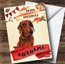 Watercolour Rustic Dog Dachshund Personalised Christmas Card