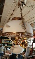 Hanging HURRICANE Lamp Vintage Milk GLASS Chain Mid-Century Light Gold Guilded