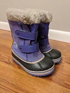 Sorel 1964 Pac Strap Kids Waterproof Snow Boots Purple Little Girl Size 11