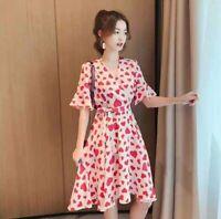 Women Fashion V-Neck Peach Heart Printing Flare Short Sleeve Knee Length Dress