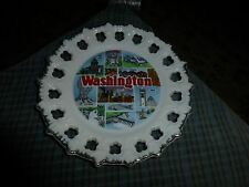 "Vintage Washington State Porcelain Wall Hanging Plate 7"" Vg !"