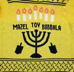 Mazel Tov Bubbala Sweater Yellow Medium Holiday Hanukkah Winter Dreidel NEW A2