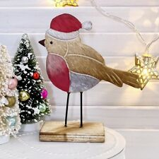 Robin Red Breast In Santa Hat Wooden Christmas Table Decoration Xmas Home Decor