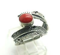 Navajo Design Oval Coral Sterling Silver 925 Ring 4g Sz.7.75 HAN197