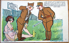 1940 Risque Postcard: Topless/Nude Woman & Soldier, V Spahn/Artist-Signed