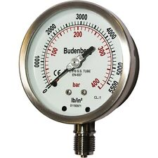"Budenberg Pressure Gauge : 100MM 736 400BAR (& psi equiv), 1/2""BSP Bottom Conn"