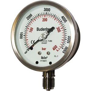 "Budenberg Pressure Gauge : 100MM 736 400BAR (& psi equiv), 1/2""BSP Bottom Conn"