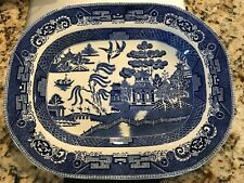 """Vintage Blue Willow platter - Wedgewood, England -11x14""""- very good condition"""