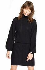 JOIE Black White Cable Knit Bishop Sleeve Turtleneck 60's Mini Sweater Dress L